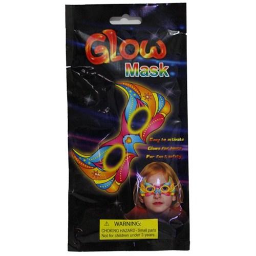 Pandoli Fosforlu Glow Stick Kelebek Parti Maskesi Kırmızı Renk