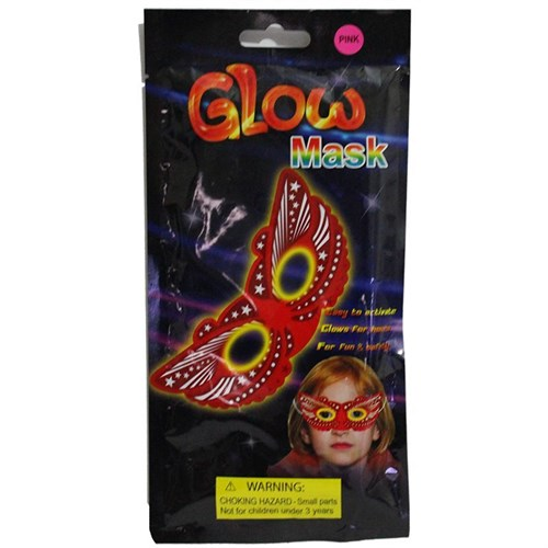 Pandoli Fosforlu Glow Stick Kelebek Parti Maskesi Pembe Renk