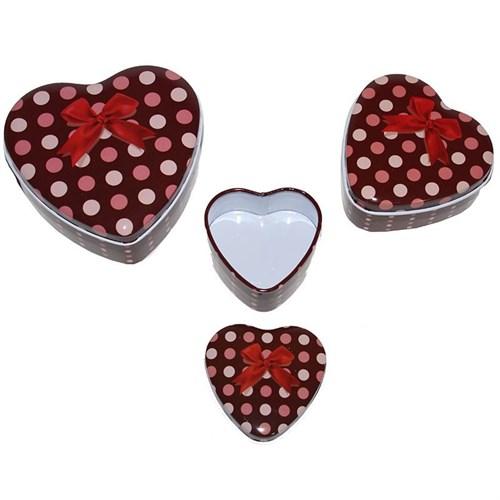 Pandoli Metal Kırmızı Renk Puanlı 3'Lü Kalp Şeklinde Hediye Kutusu