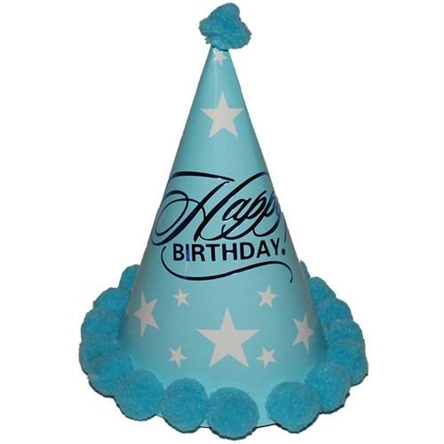 Pandoli Mavi Renk Happy Birthday Parti Şapkası