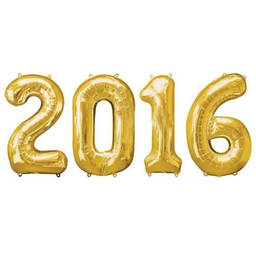 Pandoli 2016 Yılı Rakamlı Folyo Balon Altın Sarısı Renk