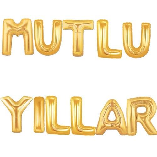 Pandoli Altın Sarısı Renk Mutlu Yıllar Yazısı Folyo Balon