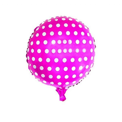 Pandoli Beyaz Puantiyeli Fuşya Renk Folyo Balon