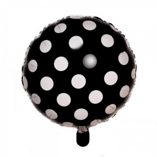 Pandoli Beyaz Puantiyeli Siyah Renk Folyo Balon