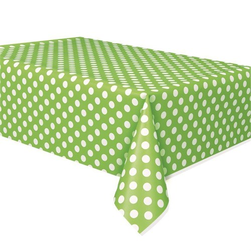 Pandoli Yeşil Beyaz Renk Puanlı Plastik Parti Masa Örtüsü