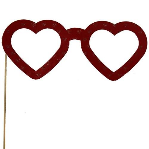 Pandoli Kırmızı Kalp Şekili Konuşma Gözlüğü