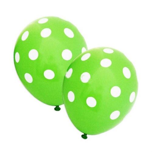 Pandoli Yeşil Beyaz Puanlı 25 Adet Baskılı Latex Balon