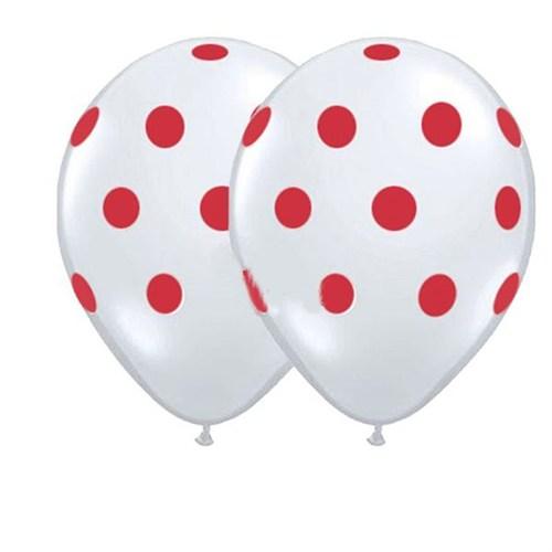 Pandoli Beyaz Kırmızı Puanlı 25 Adet Baskılı Latex Balon