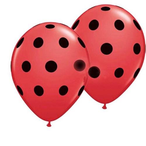 Pandoli 10 Adet Kırmızı Siyah Puanlı Baskılı Latex Balon