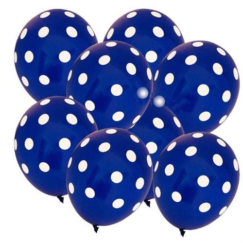 Pandoli Koyu Mavi Lacivert Beyaz Puanlı Baskılı Latex Balon 100 Adet