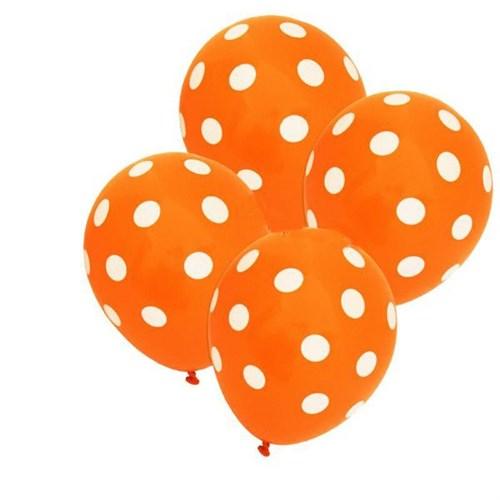 Pandoli Turuncu Beyaz Puanlı 25 Adet Baskılı Latex Balon