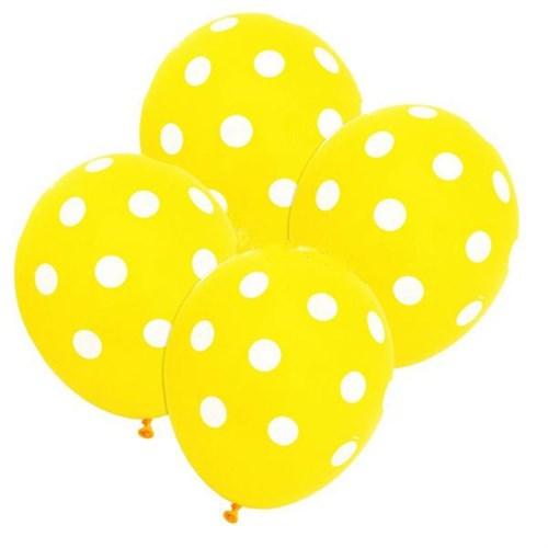Pandoli Sarı Beyaz Puanlı Baskılı 25 Adet Latex Balon
