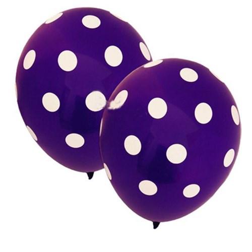 Pandoli Mor Beyaz Puanlı 10 Adet Baskılı Latex Balon