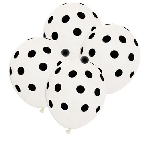Pandoli Beyaz Siyah Puanlı Baskılı 25 Adet Latex Balon