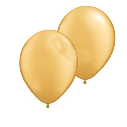 Pandoli Altın Metalik Düz Renk Sedefli Latex Balon 10 Adet