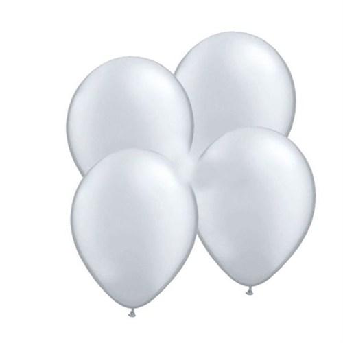 Pandoli Gümüş Metalik Düz Renk Sedefli 25 Adet Latex Balon