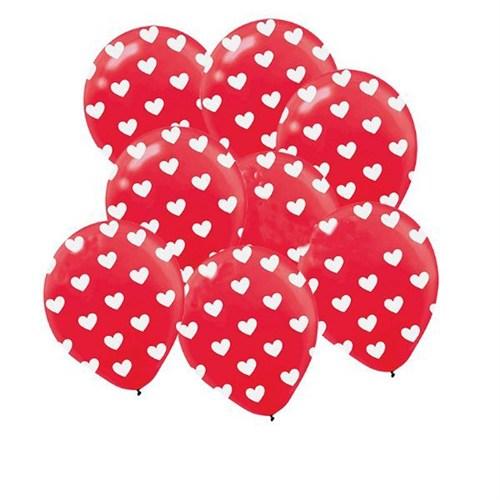 Pandoli 100 Adet Kırmızı Kalp Baskılı Latex Balon