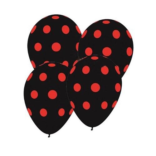 Pandoli Siyah Kırmızı Puanlı Baskılı Latex Balon 25 Adet