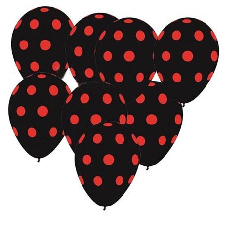 Pandoli 100 Adet Siyah Kırmızı Puanlı Baskılı Latex Balon