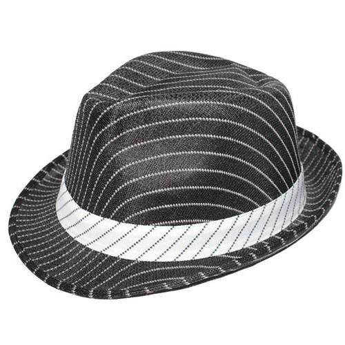Pandoli Siyah Üzeri Beyaz Şeritli Fötr Şapka