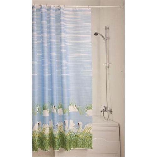 Doğuş Polyester Banyo Perdesi Tekli-Kuğular