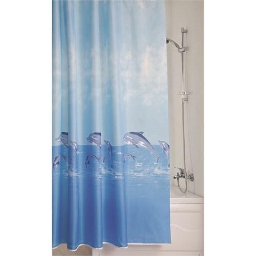 Doğuş Polyester Banyo Perdesi Tekli-Yunuslar