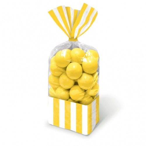 Parti Paketi Sarı Çizgili Şeker Torbası