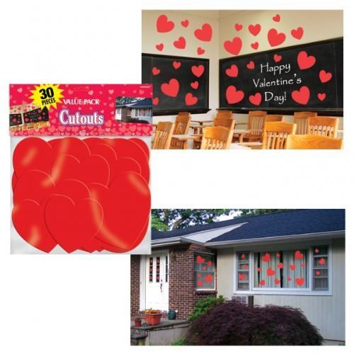 Parti Paketi Kırmızı Kalpler Duvar Dekor Kiti