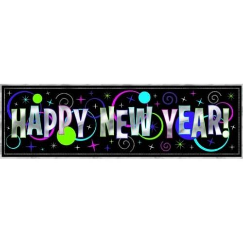 Parti Paketi Happy New Year Metalik Dev Afiş