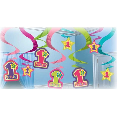 Parti Paketi Güzel 1 Yaş Kız Süs Dalgası 15'Li