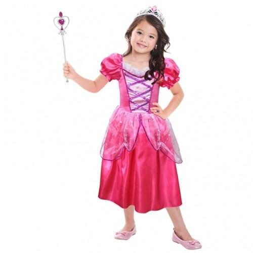 Parti Paketi Prenses Kostüm Ve Aksesuarları Lüks Fuşya 3-6 Yaş