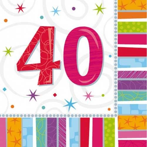 Parti Paketi Işıltılı 40 Yaş Büyük Peçete