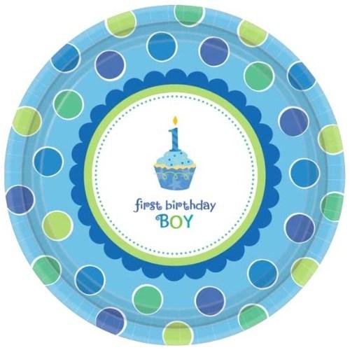 Parti Paketi 1 Yaş Partisi Mavi Cupcake Açık Büfe Tabağı 8'Li