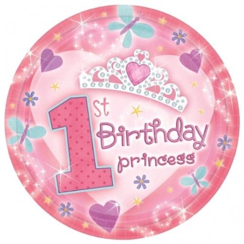 Parti Paketi 1 Yaş Prenses Tabak 18'Li