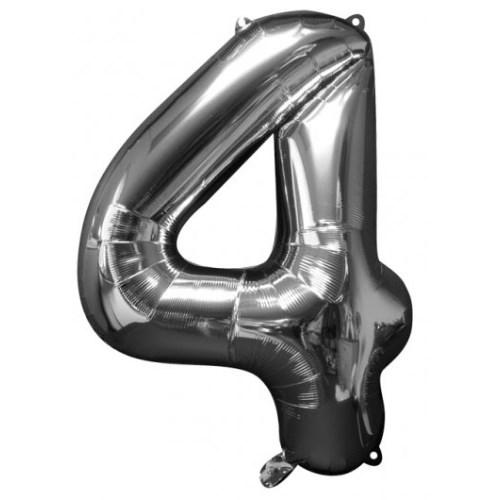 Parti Paketi 4 Sayısı GümüşSupershape Folyo Balon