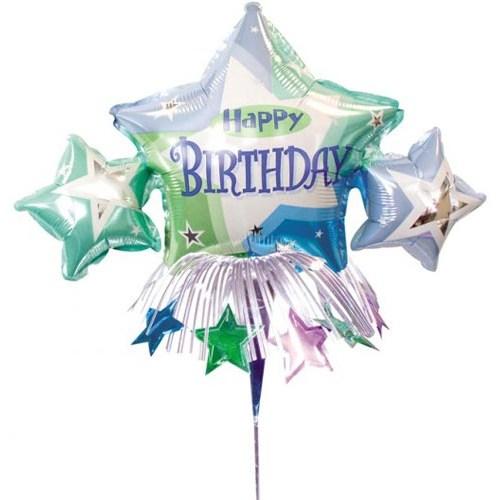 Parti Paketi Doğumgünü Yıldızı Dekorlu Minishape Folyo Balon