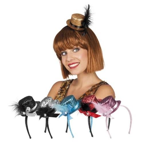Parti Paketi Mini Silindir Şapka Simli/Tüylü
