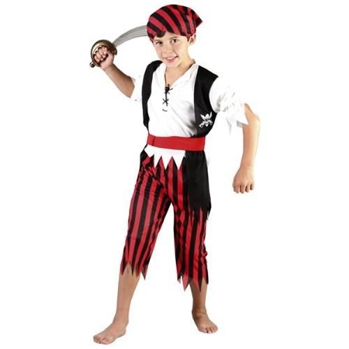 Parti Paketi Korsan Çocuk Kostümü Lüks Kırmızı 4-6 Yaş