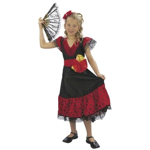 Parti Paketi İspanyol Flamenco Kostümü Kız 7-9 Y