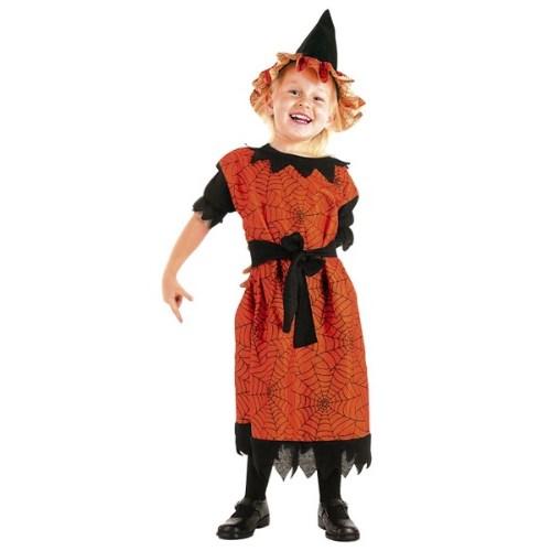 Parti Paketi Cadı Kostümü Turuncu 3-4 Yaş