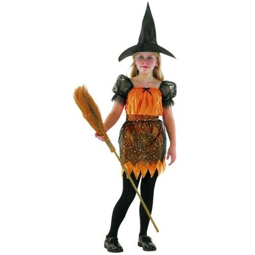 Parti Paketi Cadı Kostümü Turuncu 4-6 Yaş