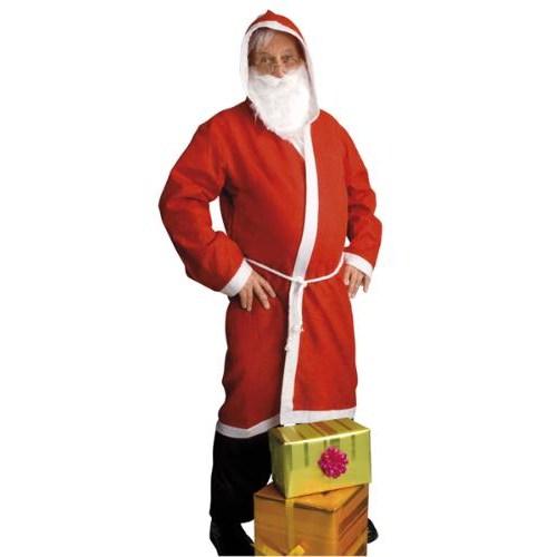 Parti Paketi Noel Baba Kostümü Sakallı Kapşonlu Cübbe M/L