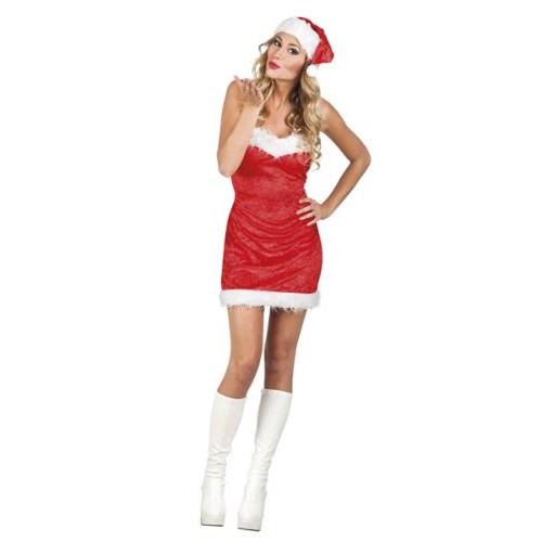Parti Paketi Noel Anne Kostümü Elbise / Şapka M