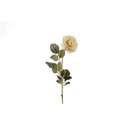 Yedifil Tek Gül Dalı Beyaz Yapay Çiçek