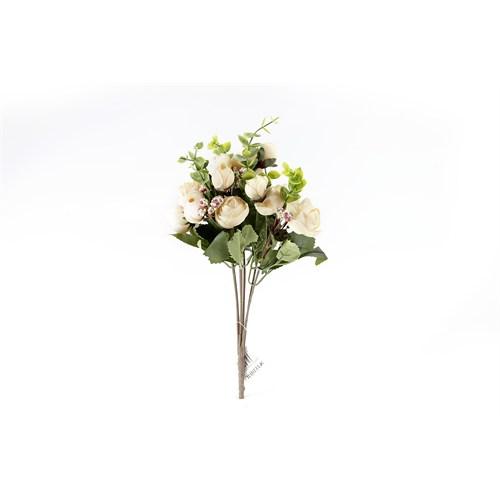 Yedifil Gonca Gül Beyaz Yapay Çiçek
