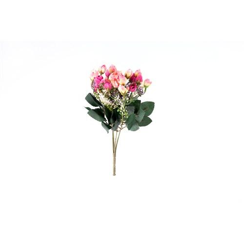 Yedifil Renkli Gül Yapay Çiçek - Fuşya