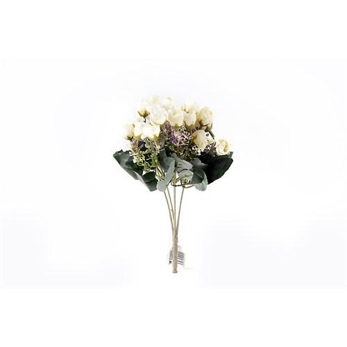 Yedifil Renkli Gül Yapay Çiçek - Beyaz