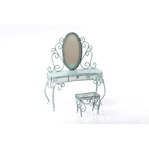 Matmazel Ferforje Mini Aynalı Dresuar - Mavi