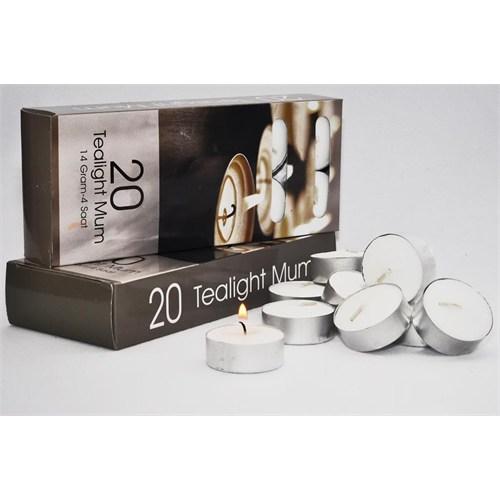 Tealight Mum 20'Li Kutu Kokusuz Beyaz