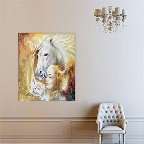 Atlantis Tablo Beyaz At ve Kız 50X60 Cm